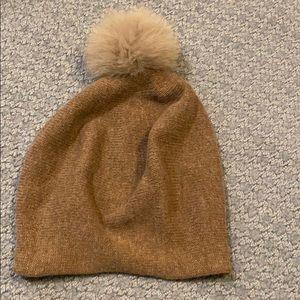 La fiorentina taupe beanie hat with Pom Pom NWT